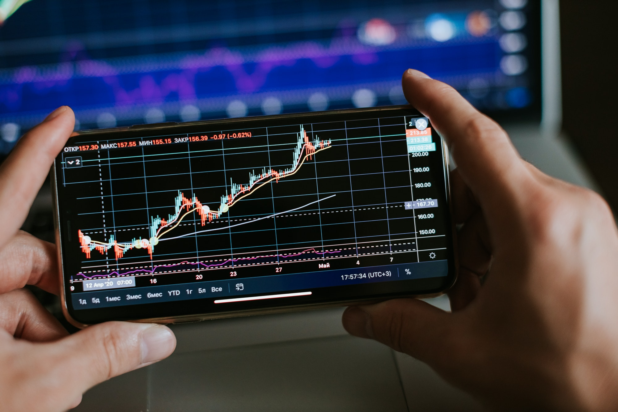 trader analyzing stock trading graph phone app